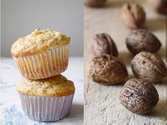 Muffins alle pere e noci tostate