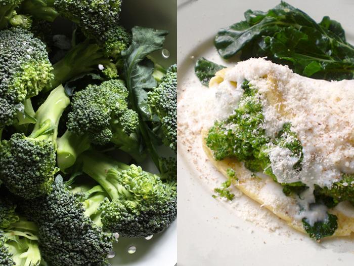 Omelette di broccoli e crema al parmigiano