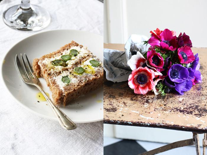 terrina di asparagi, ricotta e pane nero