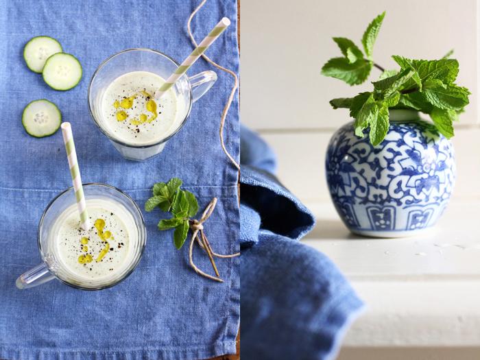 zuppa di yogurt, menta e cetrioli