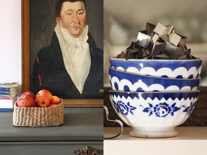 Mele, vecchi ritratti e ciotole vissute dalla mia  cucina